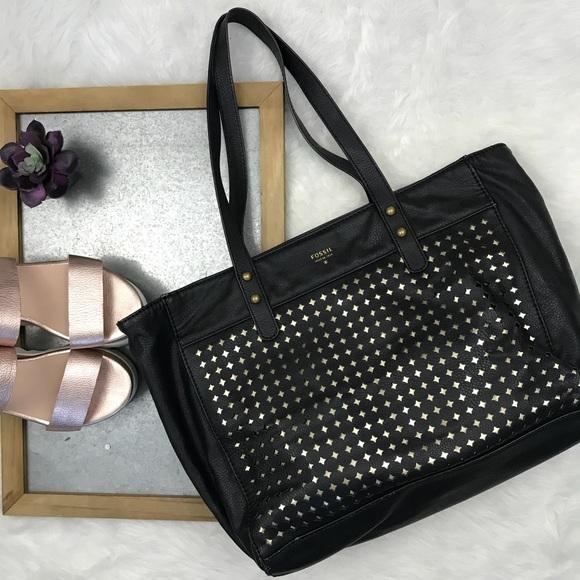a827bf7a32bf Fossil Handbags - Fossil black   gold tote bag laser cut shopper